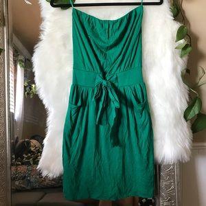 XS green strapless dress